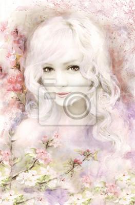 Schöne Frau, Aquarellmalerei, mit Pastellrosa und zarter Blume, Sakura