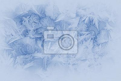 Sticker Schöne Frost Muster auf einem Fenster-Glas (in gedämpften Farben, Retro-Stil)