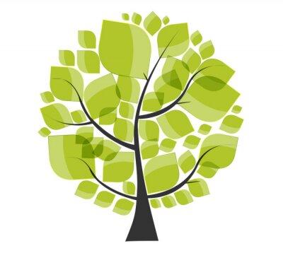 Sticker Schöne Green Tree auf einem weißen Hintergrund Vektor-Illustration.