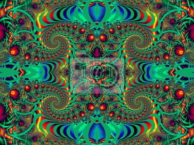 Schöne Hintergrund mit Spirale Muster. Rot und grün-Palette.