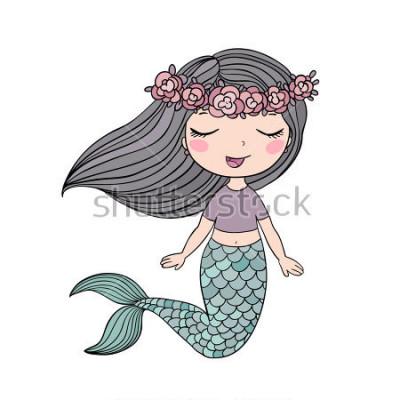 Sticker Schöne kleine Meerjungfrau der Karikatur in einem Kranz. Sirene. Seethema. Vektor-Illustration auf weißem Hintergrund.