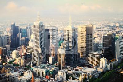 Schöne Luftbild von Melbourne Stadt bei Sonnenuntergang