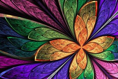 Sticker Schöne mehrfarbige Fraktal-Blume oder Schmetterling in gebeiztem gl