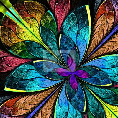 Schöne mehrfarbige fraktalen Blume. Computer generierte Grafiken