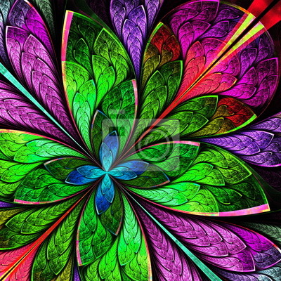 Sticker Schöne mehrfarbige fraktalen Blume. Computer generierte Grafiken