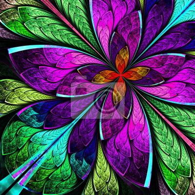 Schöne mehrfarbige fraktalen Blume in Glasfenster styl
