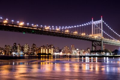 Sticker Schöne Nacht von Sicht von New York City und der 59th Street Ed Koch-Brücke Blick über nach Manhattan.