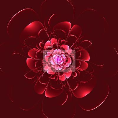 Schöne rote Blume auf rotem Hintergrund. Computer generierte Grafik