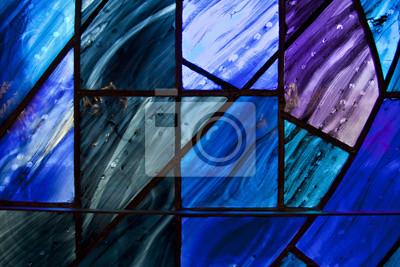 Sticker Schöne Schattierungen von tiefblau und lila auf einzigartig geformten Glasfenster.