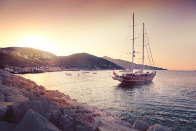 Sticker Schöne Seelandschaft mit großen Segelbooten