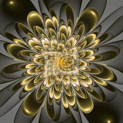 Schöne üppige Beige Blume auf grauem Hintergrund. Computergenerierung