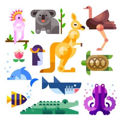 Sticker Schöne Wohnung australische Tiere: Kakadu, Känguru, Papageien, Koalas, Emu, Strauß, Delphin, Pinguin, Schildkröten, Haie, Clownfische, Krokodil, Tintenfisch. Wohnung Vektor-Illustration festgelegt.