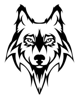 Sticker Schöne Wolf tattoo.Vector Wolf Kopf als Design-Element auf isolierte Hintergrund