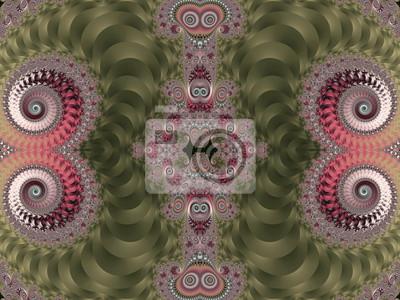 Schöner Hintergrund mit gewundenem Muster. Rosa und grüne Palette