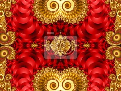 Schöner Hintergrund mit gewundenem Muster. Rote und gelbe Palette