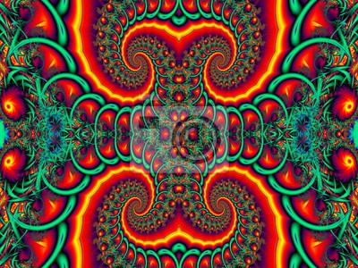 Schöner Hintergrund mit gewundenem Muster. Rote und grüne Palette.