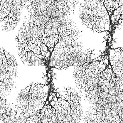 Sticker Schöner Niederlassungsbaum ohne Blätter. Nahtlose Textur. Wiederholtes Muster. Herbst Baum. Guter ursprünglicher Hintergrund für Ihr Blog.