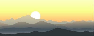 Sticker Schöner Sonnenuntergang in den Bergen. Horizontal Vektor-Landschaft.