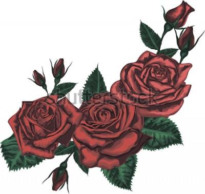 Sticker Schöner Strauß mit roten Rosen. Realistische vektorkunst - rote Rosen auf weißem Hintergrund. - Gestaltungselement für Grußkarte