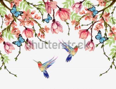 Sticker Schöner Vektorblumensommer-Musterhintergrund mit tropischen japanischen Blumen, Glyzinie, Magnolie, Schmetterlinge, Magnolie. Perfekt für Tapeten, Webseitenhintergründe, Oberflächenstrukturen, Textili