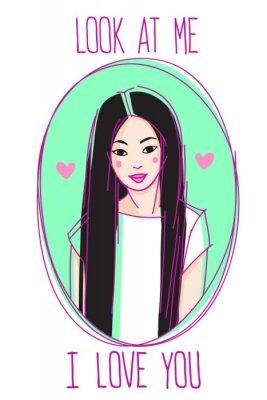 """Schönes asiatisches Mädchenporträt mit Text """"Schau mich an, ich liebe dich""""."""