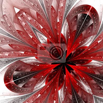 Sticker Schönes Fraktal in rot. Computer generierte Grafiken.
