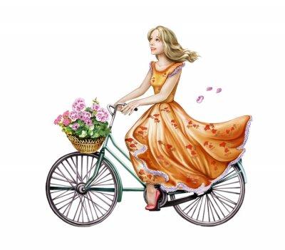 Sticker schönes Mädchen in einem Kleid auf einem Fahrrad