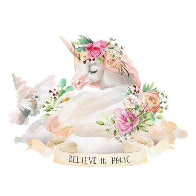 Sticker Schönes, nettes, träumendes Einhorn des Aquarells auf der Wolke mit Blumen, Blumenstrauß, Taube und Band mit dem Zitat lokalisiert auf Weiß
