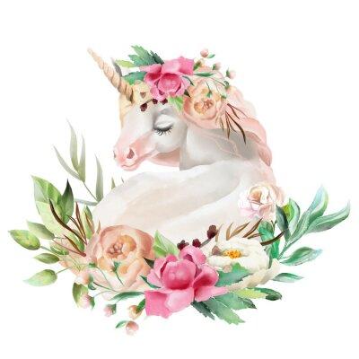 Sticker Schönes, nettes, träumendes Einhorn des Aquarells mit den Blumen, Blumenstrauß lokalisiert auf Weiß