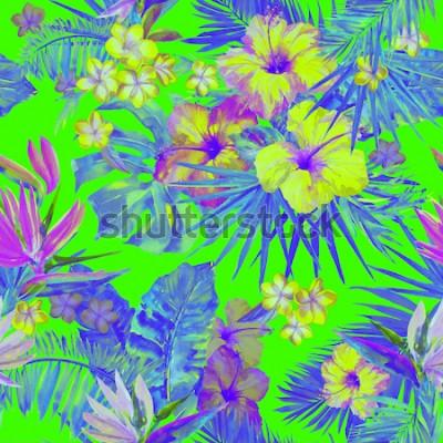 Sticker Schönes tropisches Muster mit Malerei blüht Hibiskus und Paradiesvogel. Nette gemalte tropische Illustration mit Plumeria-, Palmblatt- und Bananenblättern. Tropischer Hintergrund der grünen Neonfarbe.