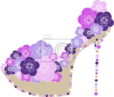 Schuh mit Blumen geschmückt