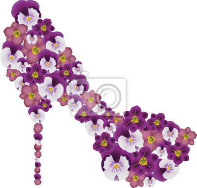 Schuh mit Blumen geschmückt. Vector