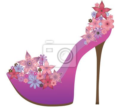 Schuhe mit Blumen geschmückt. Vector