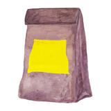 Schulmahlzeittasche mit gelbem aufkleber. eco freundliche einfache braune  fertigkeit-papiertüte. aquarellabbildung. be64ac1176