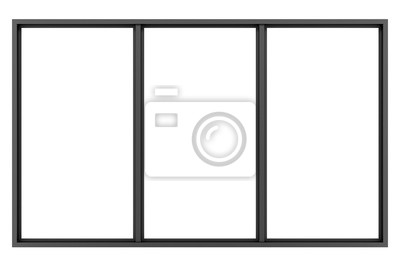 Sticker Schwarz metallic Fenster isoliert auf weißem Hintergrund