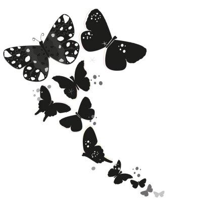 Sticker Schwarz Schmetterling Design und abstrakte dekorative Blumen Vektor Hintergrund