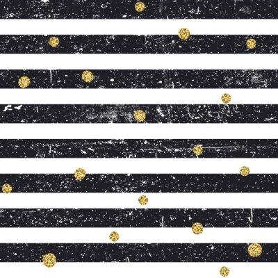 Schwarz strukturierte Linien und chaotischen goldenen Punkte nahtlose Muster. Vintage Retro-Muster. Zusammenfassung Vektor Hintergrund