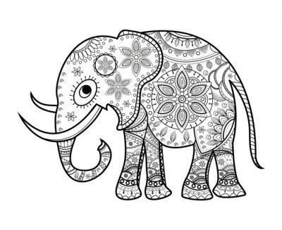 Sticker Schwarz und weiß dekoriert Elefanten auf weiß, elefante decorato vettoriale da colorare, su sfondo bianco