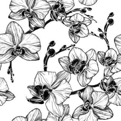 Sticker Schwarz und weiß nahtlose Muster mit Orchideenblüten