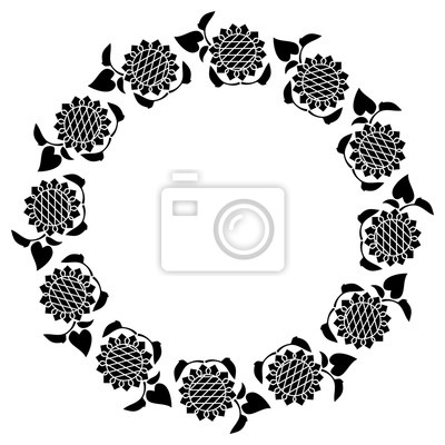 schwarz und wei runden rahmen mit dekorativen sonnenblumen silhouetten notebook sticker. Black Bedroom Furniture Sets. Home Design Ideas