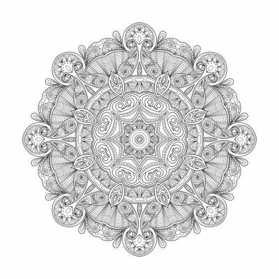 Sticker Schwarz-Weiß-abstrakte kreisförmige ethnische Muster Mandala.