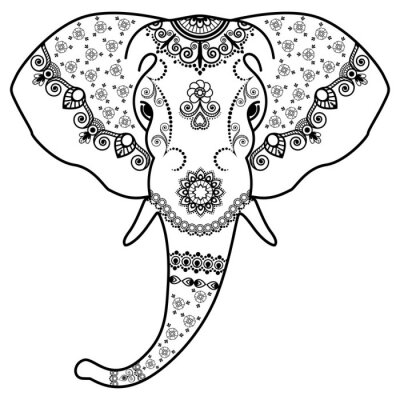 Sticker Schwarz-Weiß-Elefanten Kopf in Mehndi indischen Stil. Vektor-Illustration isoliert auf weißem Hintergrund