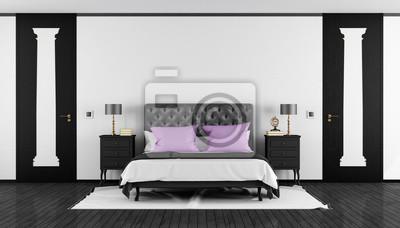 Sticker: Schwarz-weiß-klassik-schlafzimmer