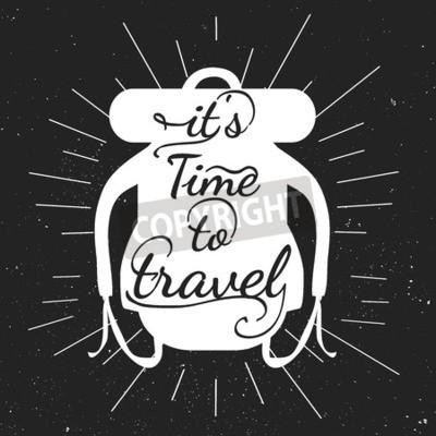 Sticker Schwarz-Weiß-Motivplakate. Vintage-Stil Rucksack mit Kalligraphie. Beutelform. Inspirational Typografie. Hand gezeichnete Typografie Plakat