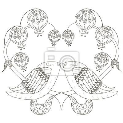 Schwarz-weiß-skizze der liebenden vögel, stilisiertes herz anti ...