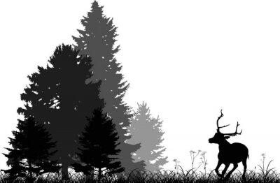 Sticker Schwarze Hirsche laufen zu Tannenwald isoliert auf weiß