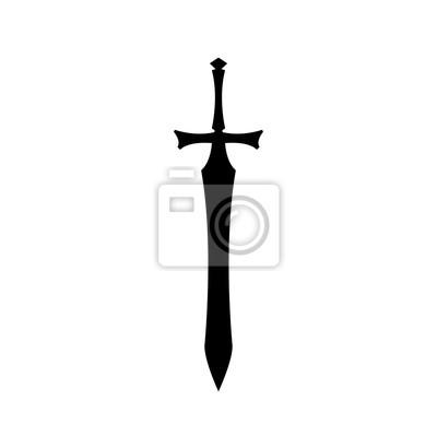 Sticker Schwarze Schattenbilder der mittelalterlichen Ritterschwert auf weißem Hintergrund. Paladin Waffensymbol. Fantasy Krieger Ausrüstung. Vektor-Illustration