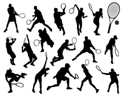 Sticker Schwarze Silhouetten der Tennisspieler, Vektor