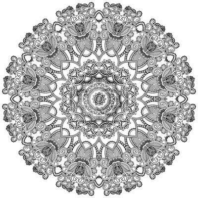 Schwarze Spitze Kreis auf weißem Hintergrund. Ornamental Runde