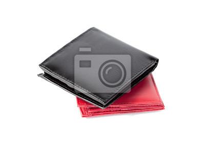 schwarze und rote Geldbörse
